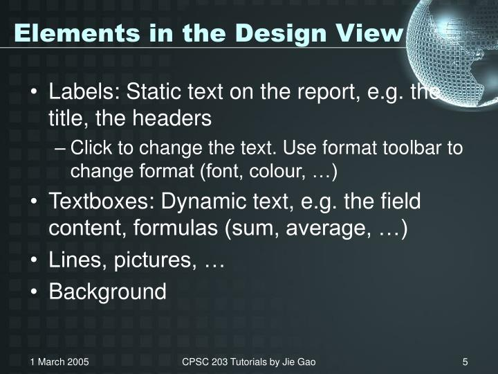 Elements in the Design View