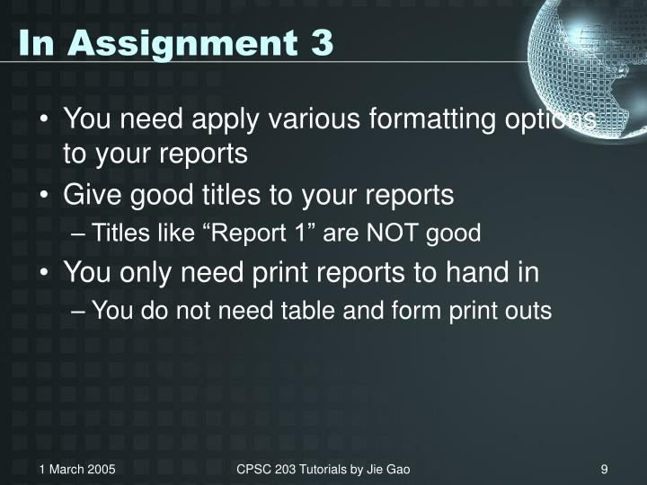 In Assignment 3