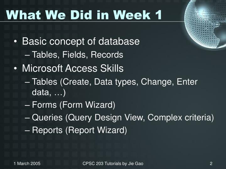 What we did in week 1