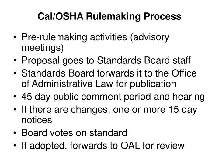 Cal/OSHA Rulemaking Process