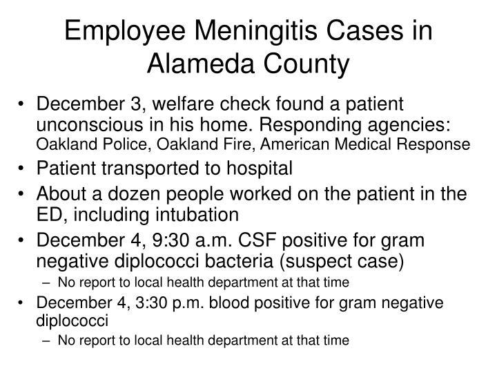 Employee Meningitis Cases in Alameda County