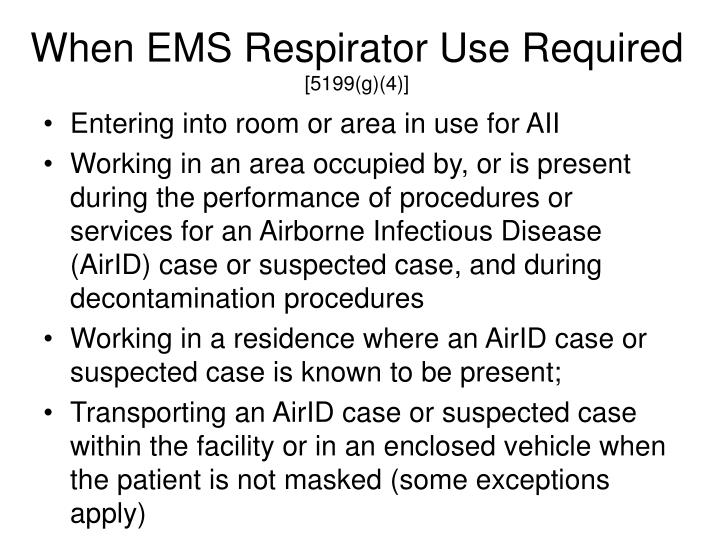 When EMS Respirator Use Required