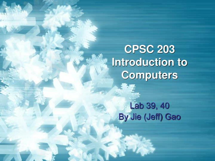 cpsc 203 introduction to computers n.