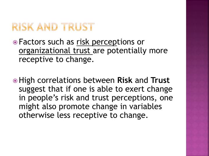 Risk and Trust
