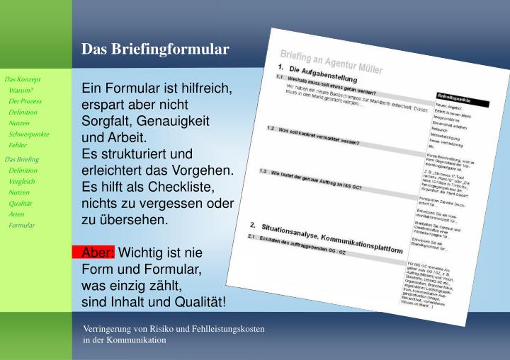 Das Briefingformular