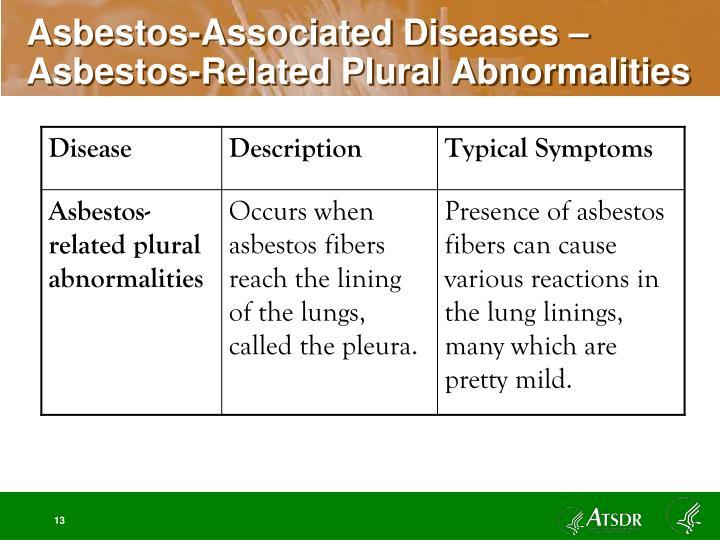 Asbestos-Associated Diseases – Asbestos-Related Plural Abnormalities