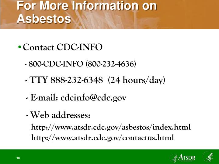 For More Information on Asbestos