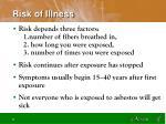risk of illness