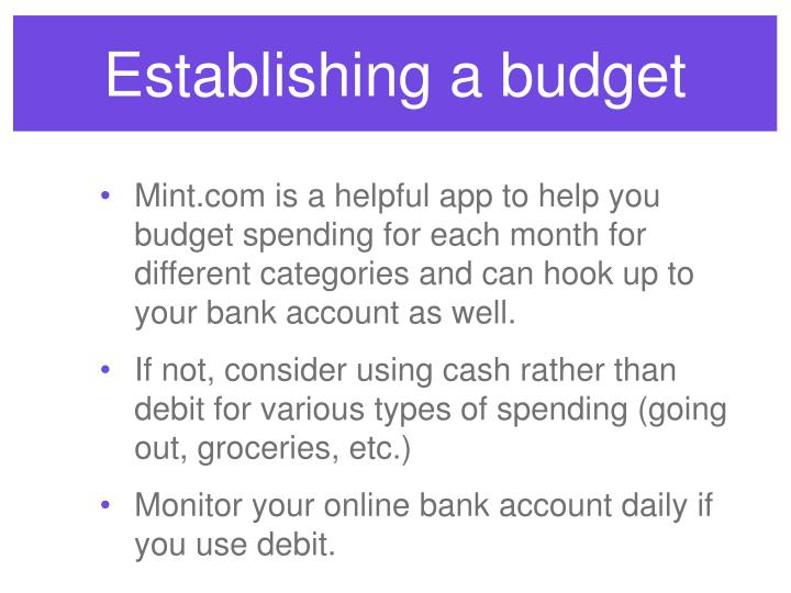 Establishing a budget