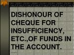 dishonour of cheque for insufficiency etc of funds in the account