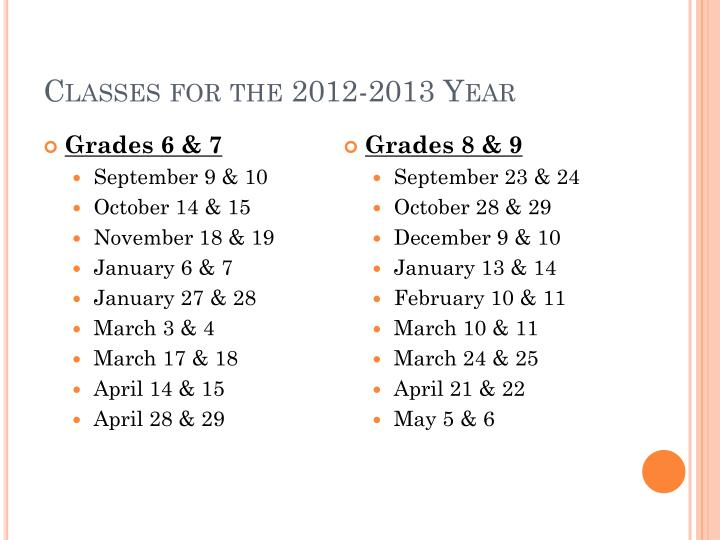 Classes for the 2012 2013 year