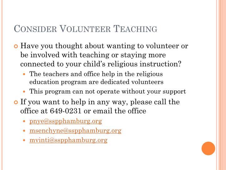 Consider Volunteer Teaching