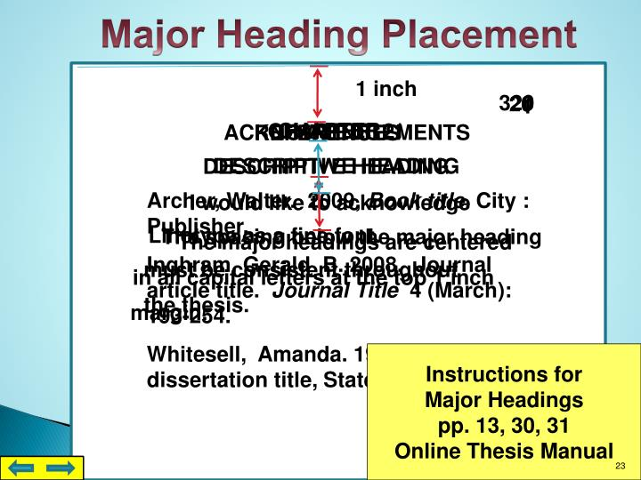 Major Heading Placement