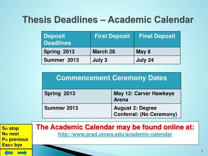 Thesis Deadlines – Academic Calendar