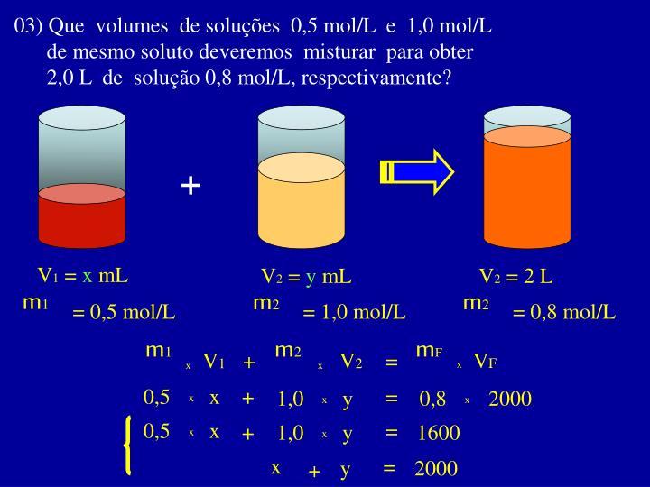 03) Que  volumes  de soluções  0,5 mol/L  e  1,0 mol/L