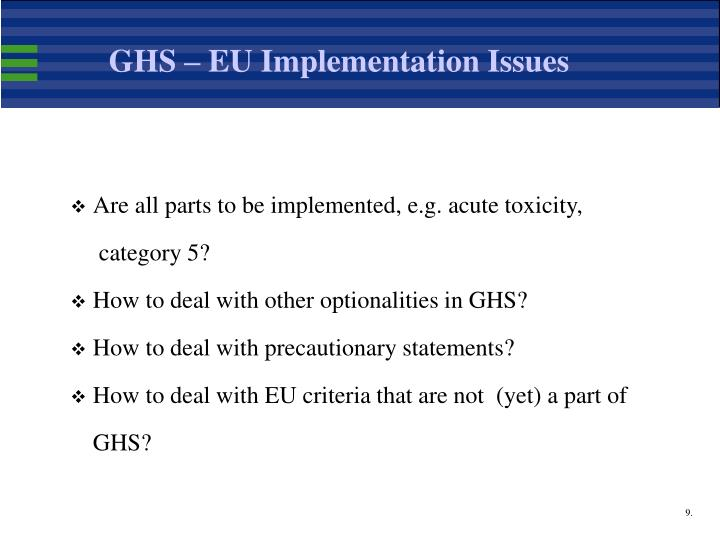 GHS – EU Implementation Issues