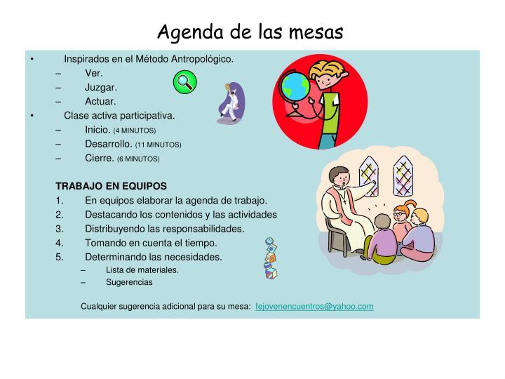 Agenda de las mesas
