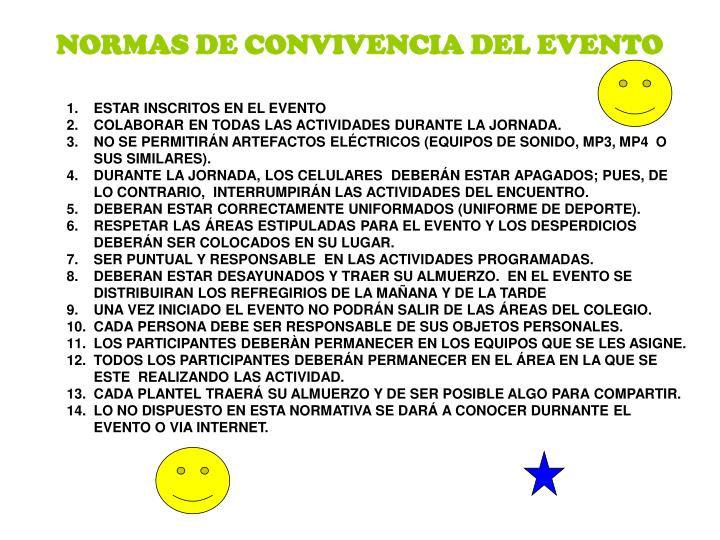 NORMAS DE CONVIVENCIA DEL EVENTO