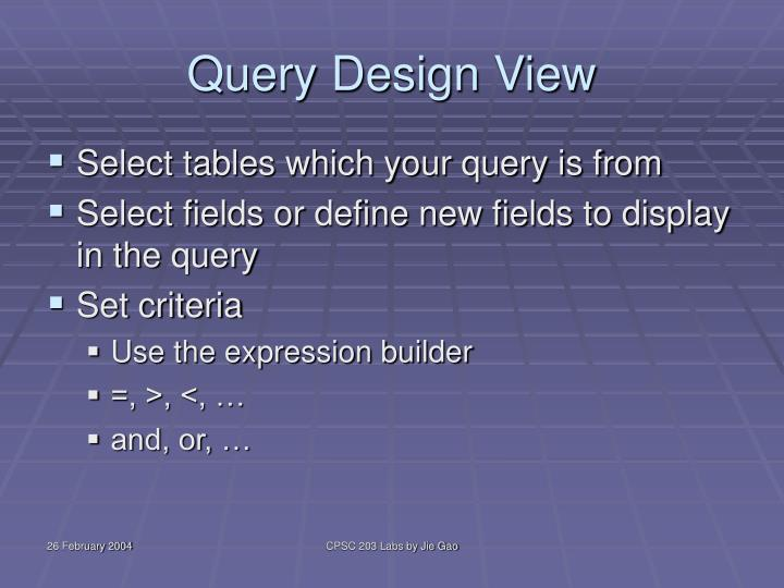 Query Design View