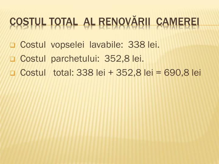 Costul  vopselei  lavabile:  338 lei.