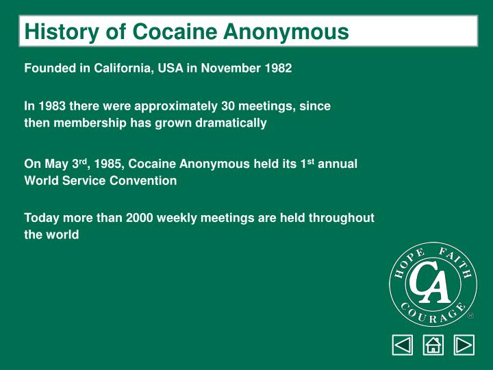 History of Cocaine Anonymous