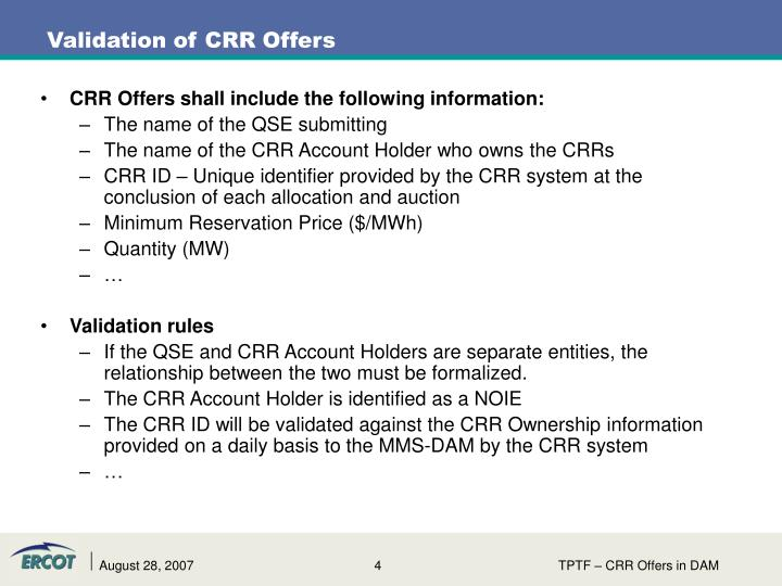 CRR Offers shall include the following information: