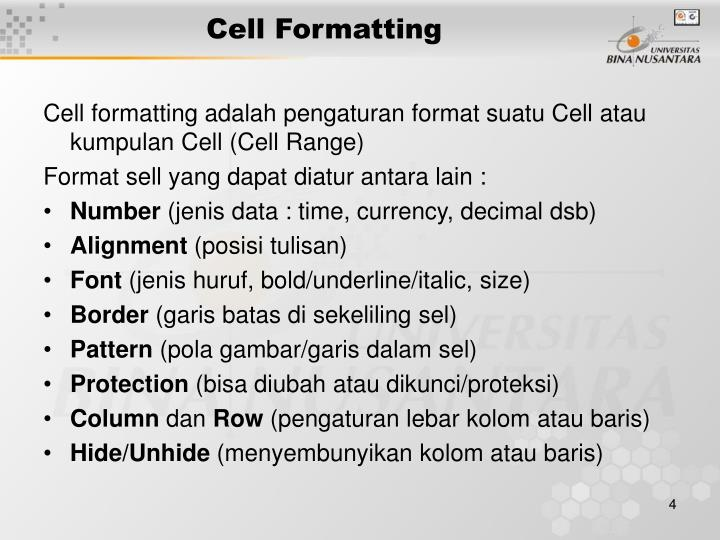 Cell Formatting