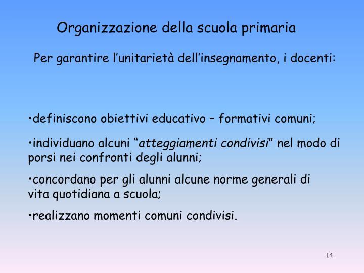 Organizzazione della scuola primaria