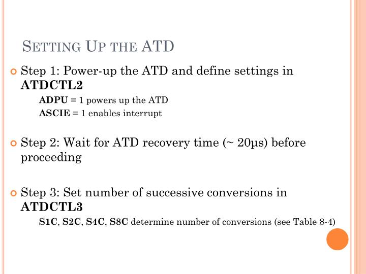 Setting Up the ATD