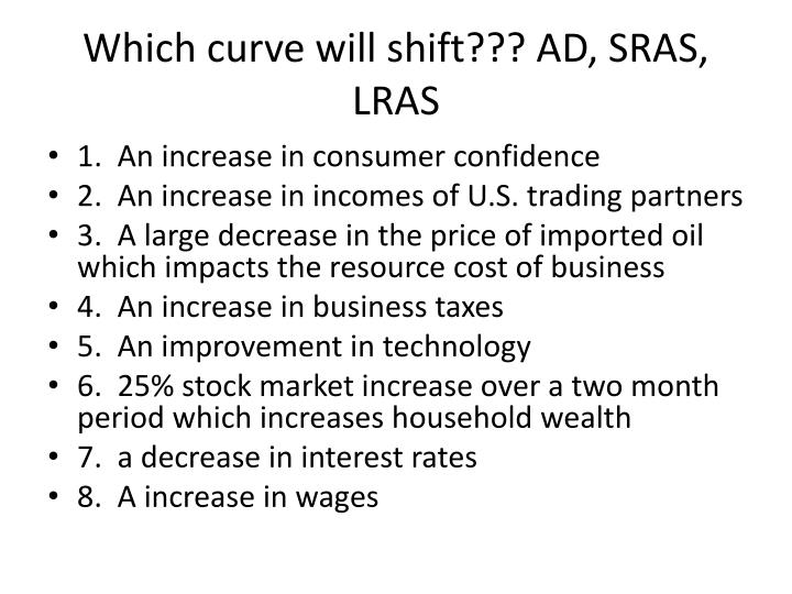 Which curve will shift??? AD, SRAS, LRAS