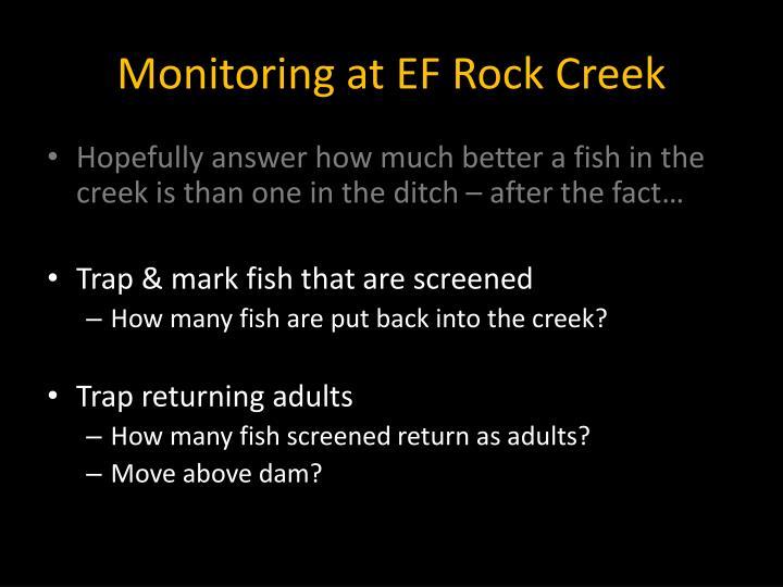 Monitoring at EF Rock Creek