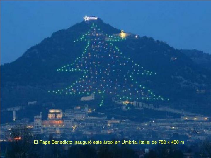 El Papa Benedicto inauguró este árbol en Umbria, Italia; de 750 x 450 m