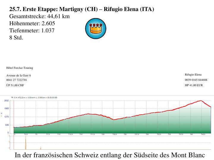 25.7. Erste Etappe: Martigny (CH) –