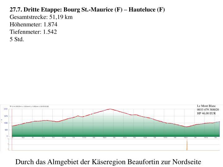 27.7. Dritte Etappe: Bourg St.-