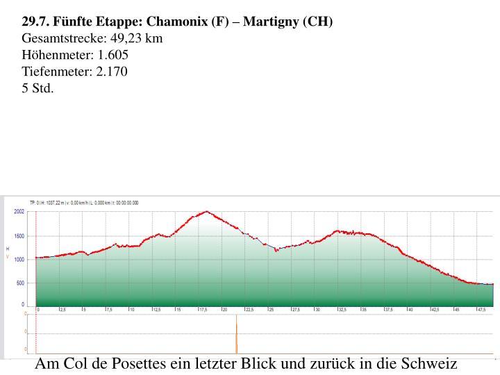 29.7. Fünfte Etappe: Chamonix (F) – Martigny (CH)