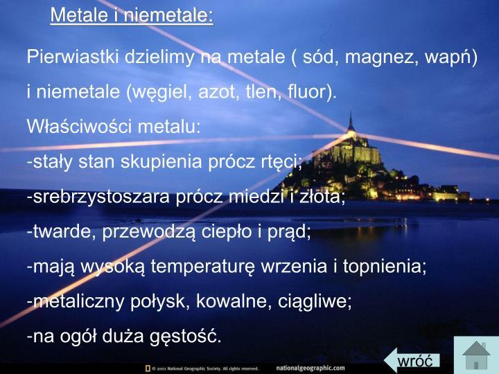 Metale i niemetale: