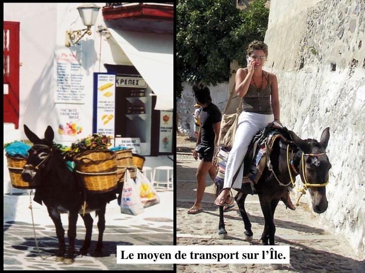 Le moyen de transport sur l'Île.