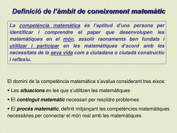 Definició de l'àmbit de coneixement matemàtic