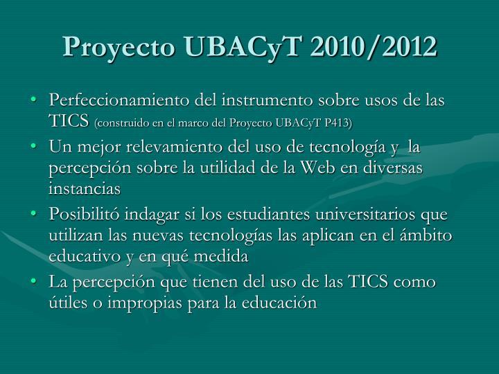 Proyecto ubacyt 2010 2012