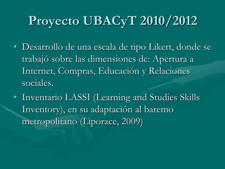 Proyecto ubacyt 2010 20121