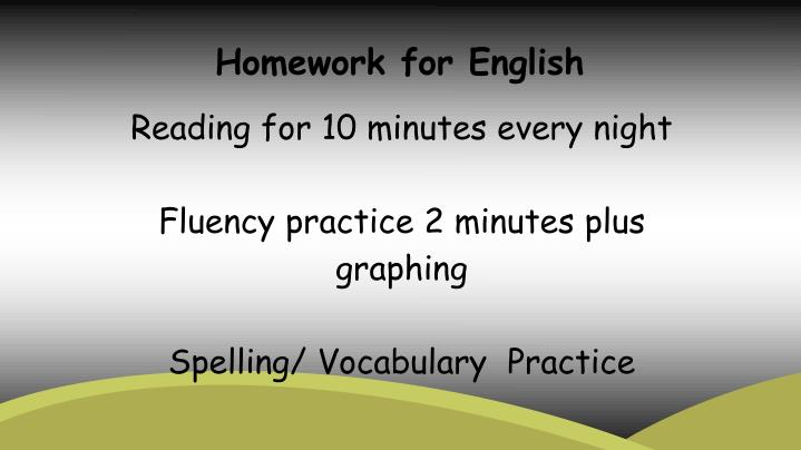 Homework for English