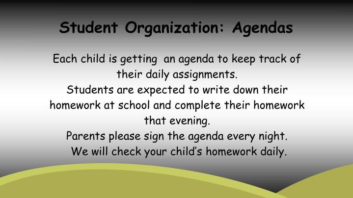 Student Organization: Agendas