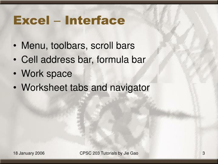 Excel interface