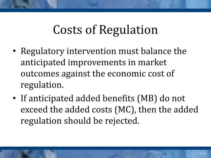 Costs of Regulation