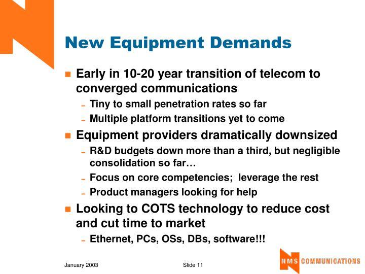New Equipment Demands