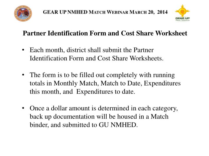 Partner Identification Form and Cost Share Worksheet