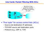 line cards packet filtering with acls
