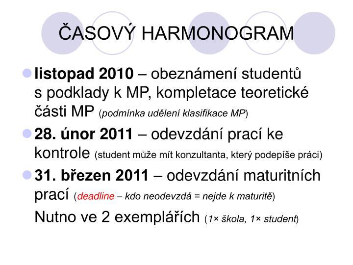 ČASOVÝ HARMONOGRAM
