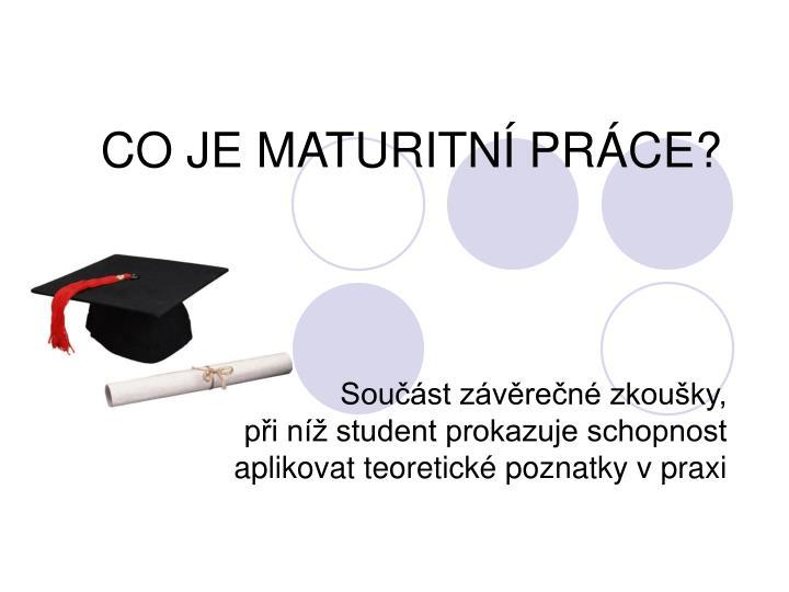 Co je maturitn pr ce