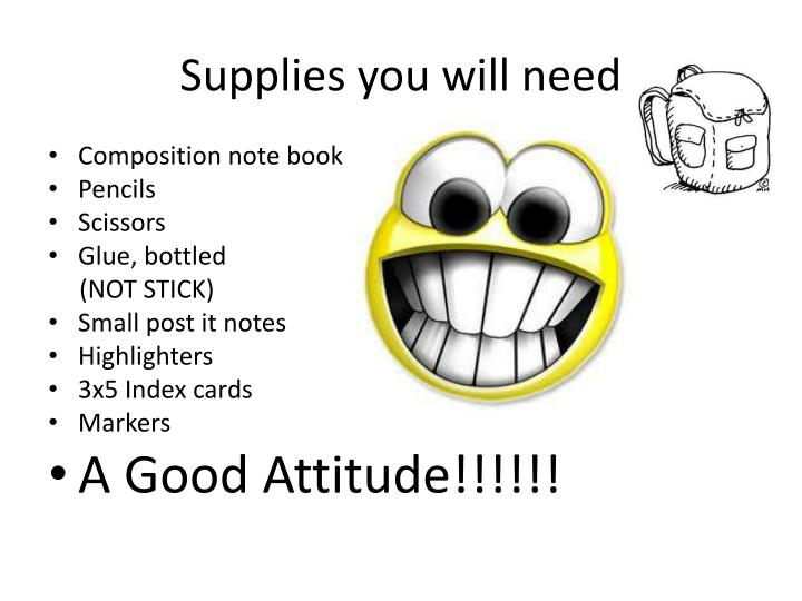 Supplies you will need